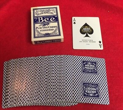 VINTAGE BEE PLAYING CARDS Blue No.92 DECK Golden Nugget Gambling Hall Las Vegas