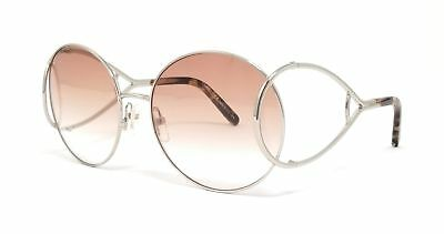206b0713f24 CHLOE Sunglasses CE124S 043 Silver-Brown Marble Round 60x18x135