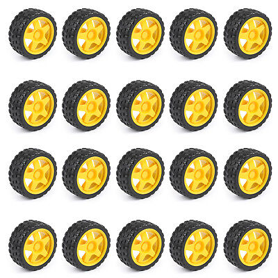 20Pcs Smart Car Robot Plastic Tire Tyre Wheel 65mm*27mm For Arduino Robot