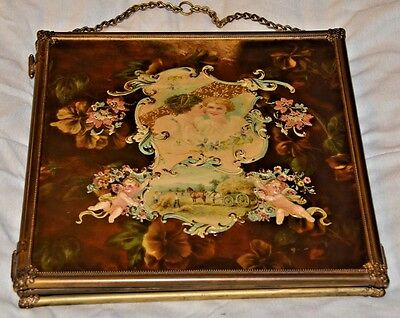 OUTSTANDING Antique Solid Brass Enamel Andirons Hand Painted Mirror Fire screen