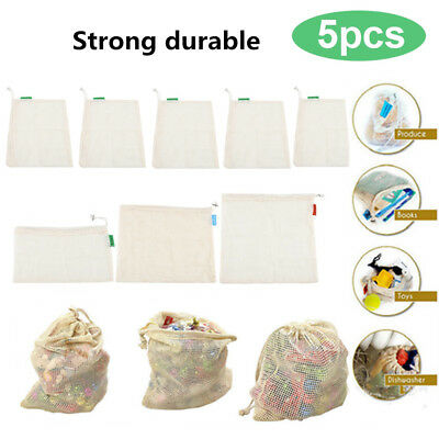 5pc Reusable Cotton Mesh Produce Bags Grocery Fruit Storage Shopping String Bags
