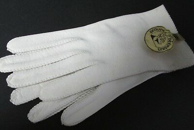 Genuine White Deerskin Leather Gloves Unlined Size 7 Wrist Length Unused w Tag