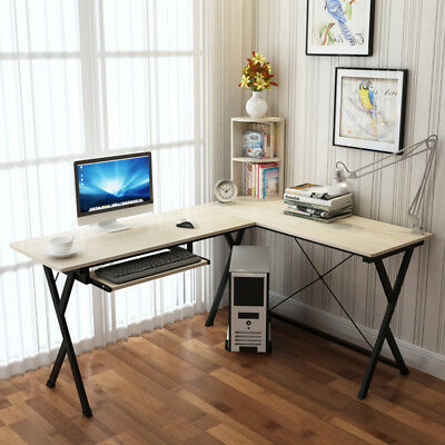 ZJ1 Large Corner Computer PC Desk Home Office Furniture Drawer&Shelf Table
