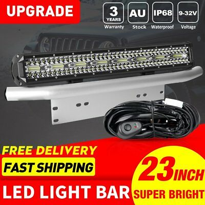 23'' Number Plate Frame Mount Bracket + CREE LED Light Bar 1600W Combo for Truck