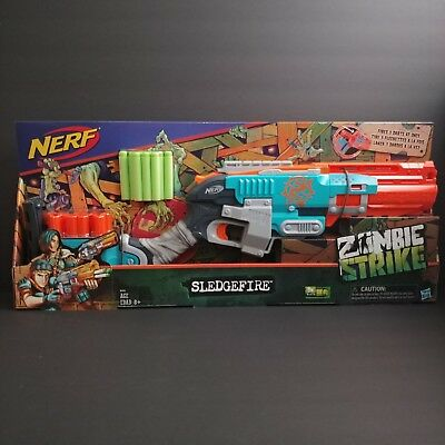 Nerf Zombie Strike Sledgefire Blaster with 3 Reloadable Shells 9 Elite Darts New