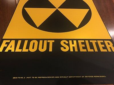 FALLOUT SHELTER SIGN/ AUTHENTIC COLD WAR Original U.S. Gov Issue. 10x14 Steel