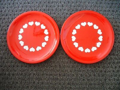 "2 Dinner Plates Waechtersbach ""Hearts"" Red with White Hearts 10"""