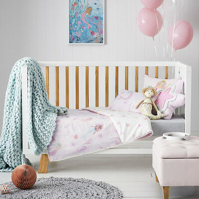 New Adairs Kids Mermaid Splash Pink Cot Quilt Cover Set Keepsake Toy Rrp$$109.98