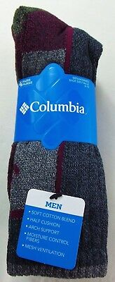 Columbia Men's Crew Socks 4 Pack Large Black Grey Current Red Cotton Blend New