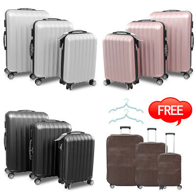 3x Travel Luggage Set Bag Trolley Spinner Business Hard Shell ABS Cabin Suitcase