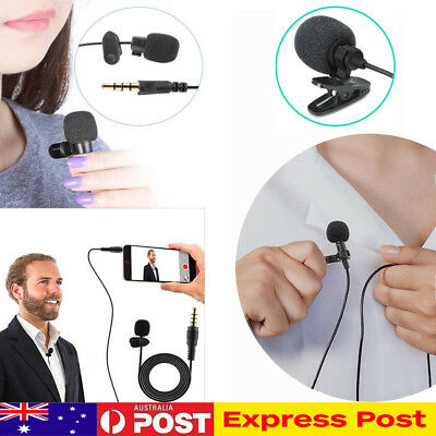 3.5mm Clip-on Lapel Mic Microphone Mini Lavalier For Mobile Phone PC Recording