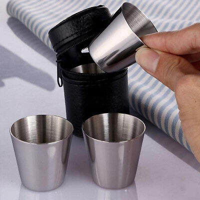 4pcs Stainless Steel Wine Whisky Cup Mug Tumbler Camping Hiking W Leather  New.