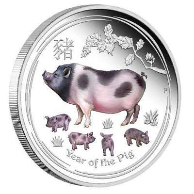 2019 $1 Lunar Year of Pig 1oz Silver Proof Coloured Coin - Series II