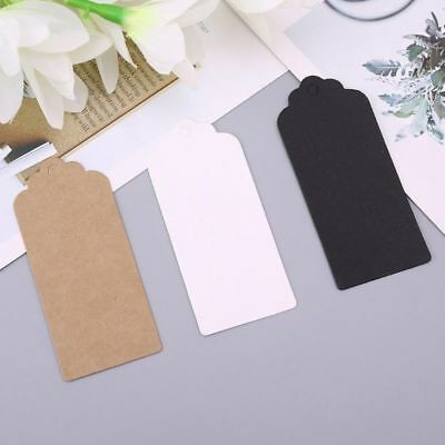 100/200pcs White/Black/Brown Kraft Paper Hang Tags Wedding Favor Label Gift Card