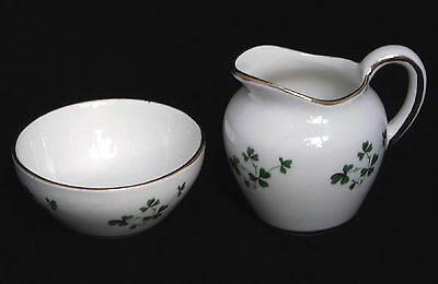 Vintage Carrigaline Ireland Shamrock Miniature Open Sugar Bowl & Creamer