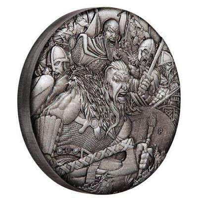 2018 Tuvalu $2 Warfare - Vikings 2oz Silver Antiqued High Relief Rimless Coin
