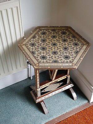 Antique Middle Eastern (Egyptian) hexagonal occasional/side table