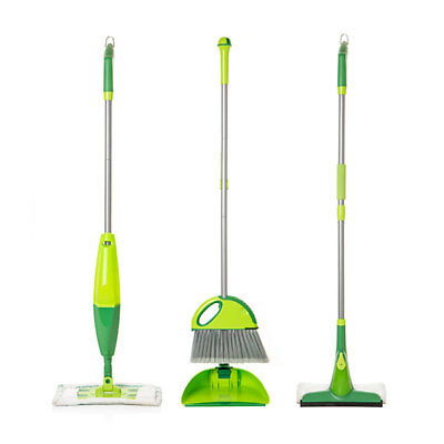 Esential Cleaning Set, Microfibre Mop, Brush & Pan, Easy Storage