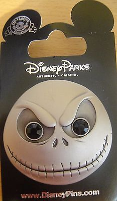 Disney-NBC-Jack Skellington Face Metal Black Gem Eyes Pin- New on Card