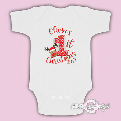 Personalised My First 1st Christmas  Santa Kids Present Body Suit Vest Reindeer