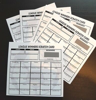 18 Fundraising Football Scratch Cards - 30 Teams - Free Post