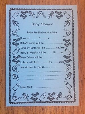 Baby Shower Games - Prediction & Advice Cards Boy New Mum To Be Pack of 10    A4