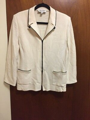 St John Collection by Marie Gray Knit Zip Front Cardigan Zip Trim Detail Sz: 16