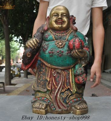 """17""""Old Chinese Temple Bronze gilt inlay Turquoise coral Maitreya Buddha Statue"""