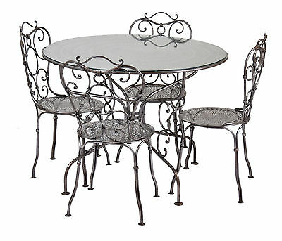 Victorian Style Steam Punk Wrought Iron Raw Steel Set Table and Four Chairs
