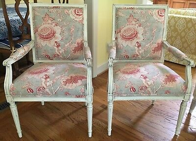 Pair Century French Chairs in Thibaut's Rittenhouse Fabric - Can Ship