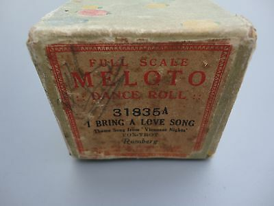 Pianola Roll * Vintage Piano Roll *I Bring A Love Song* Viennese Nights Theme *