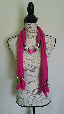 Womens Bling Rhinestone White Big Beaded Silver Hot Pink Scarf With Jewelry