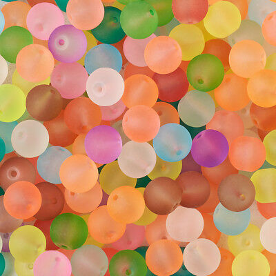 500pc Transparent Frosted Glass Round Jewelry Loose Beads Mixed Color 4/6/8/10mm