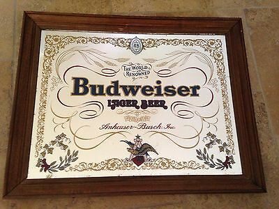The World Renowned Budweiser Lager Beer Bar Mirror Sign