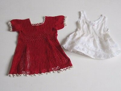 VINTAGE Baby Girl Dress Sz 12 M Easter Handmade Crochet Red Underdress LOT Of 2