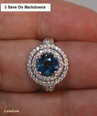 2 ct Natural Round London Blue TOPAZ SILVER RING