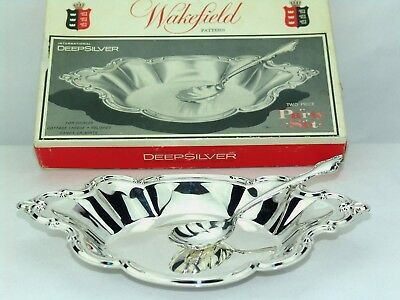 International Wakefield Silver Inlaid Bowl + Spoon Snack Relish Cheese Tray 548