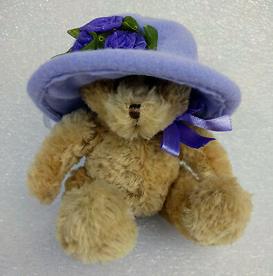 "Avon Plush 6"" Teddy Bear with Hat in Flower Hat Box"