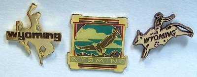 3 WYOMING Pins -Cowboy ,Eagle & Bull Rider