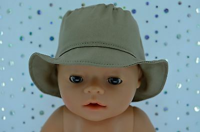 """Play n Wear Doll Clothes To Fit 17"""" Baby Born TAUPE DRILL SUN HAT"""