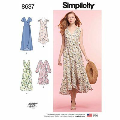 Simplicity Sewing Pattern 8637 Misses 6-14 Wrap Dresses Ruffle and Hem Options