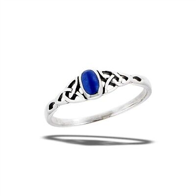 Sterling Silver Lapis Celtic Triquestras Ring - Free Gift Packaging