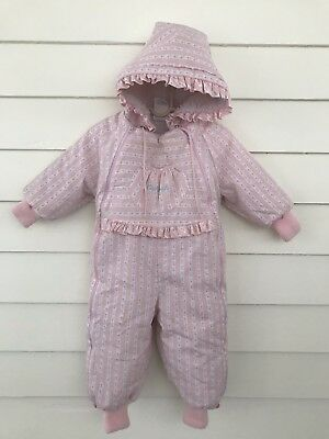 3aa3f5450 Vintage Girl Oshkosh Snowsuit Hoodie 18 Months Pink Full Zip Up One Piece  USA