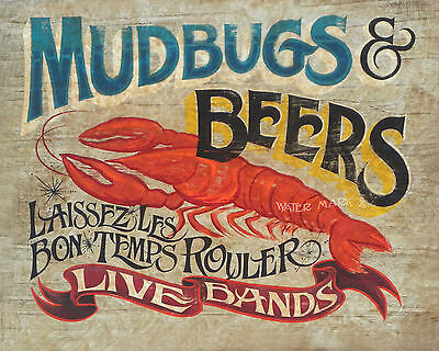 Mudbugs & Beer  Poster decor vintage louisiana cajun seafood crawfish art