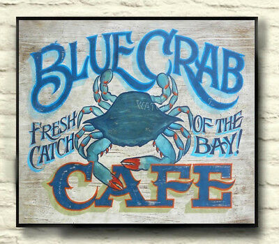 Blue Crab Cafe Print art decor print vintage style chesapeake bay, Seafood