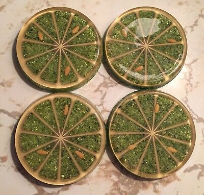 Vintage Coasters Lucite Mid Century Fruit Slices Lime USA Made 1950s Starburst
