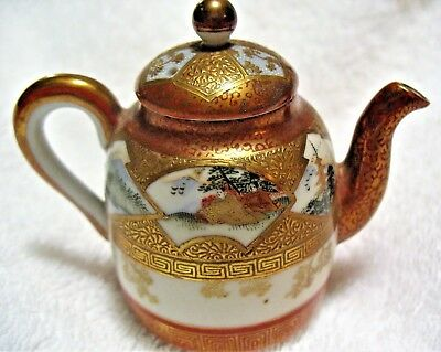 "Antique Japanese miniature teapot 2 3/4"" high"