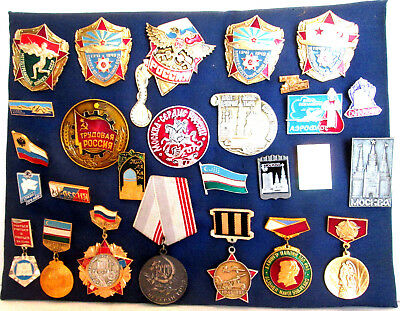 Lot of 29 Vintage Soviet (USSR) Russian Pins, Badges, Medals