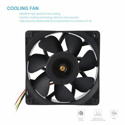 7500RPM DC12V 5.0A Brushless Miner Cooling Fan For Antminer Bitmain S7 S9 JZ