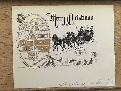 Vintage holiday Merry Christmas card gray/black w/ gold foil feat. horses coach